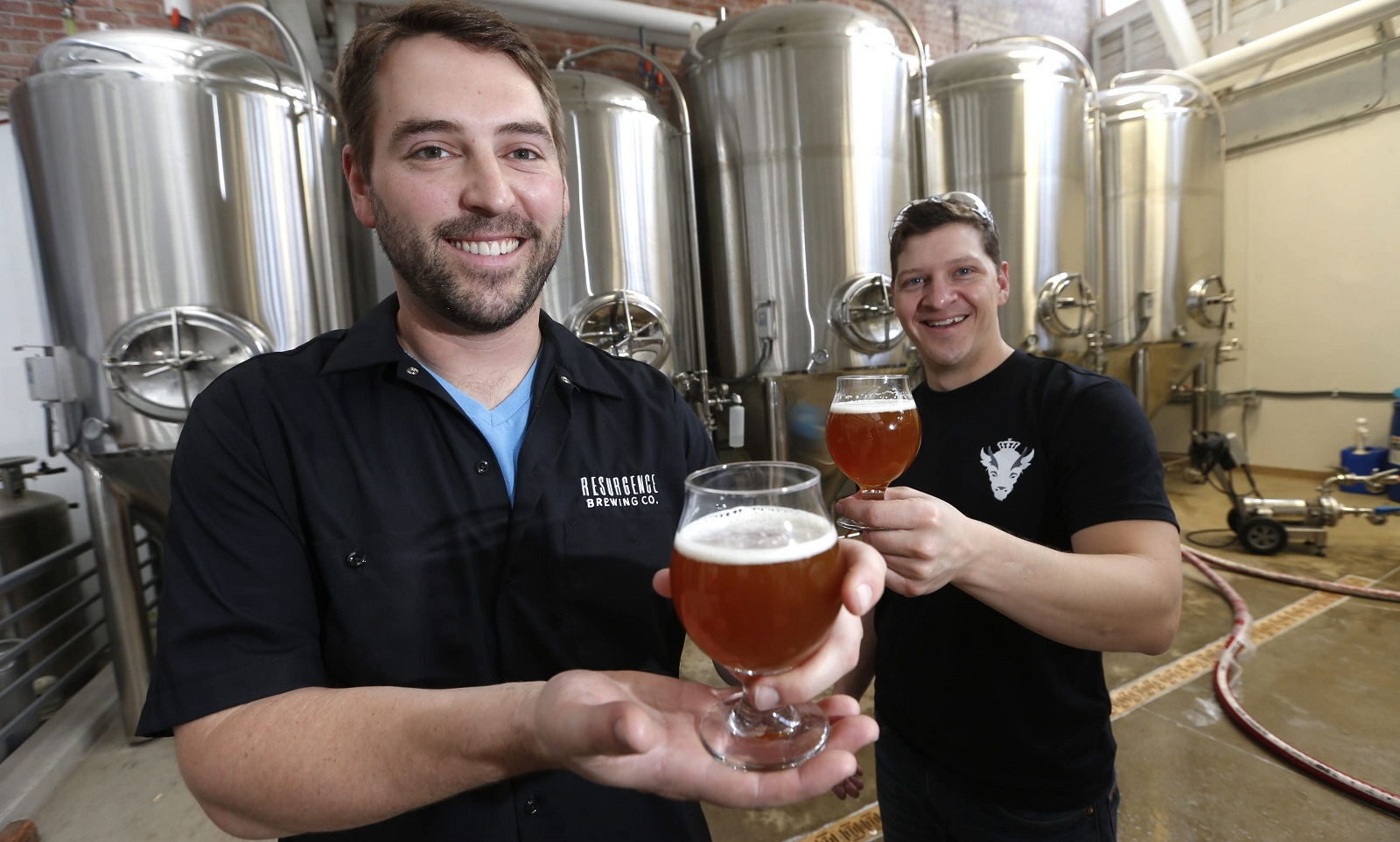 Resurgence owner Jeff Ware, left, and Dave Collins, master brewer, right. (Robert Kirkham/Buffalo News file photo)