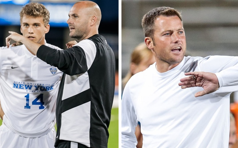 UB coaches Stu Riddle, middle, and Shawn Burke, right, announced their 2016 recruiting classes. (via UB Athletics)
