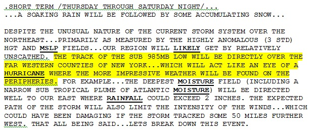 Forecaster's discussion, Wednesday morning, National Weather Service Buffalo.