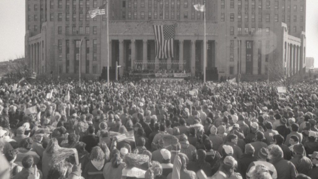 Bills fans turned out en masse to show support for their team following Super Bowl XXV. (Buffalo News file photo)