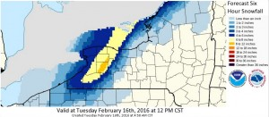 Snowfall forecast for 6 a.m. to 12 p.m. Tuesday. (National Weather Service)