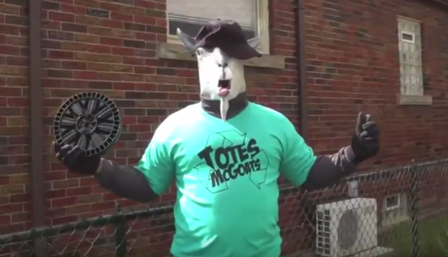 Totes McGoats stars in a 13-minute video, but his public appearances are history. (screenshot of Niagara Falls video)