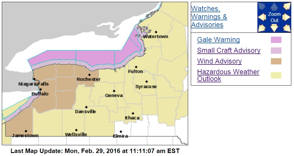 A wind advisory goes into effect in most areas of Western New York this afternoon. (NWS)