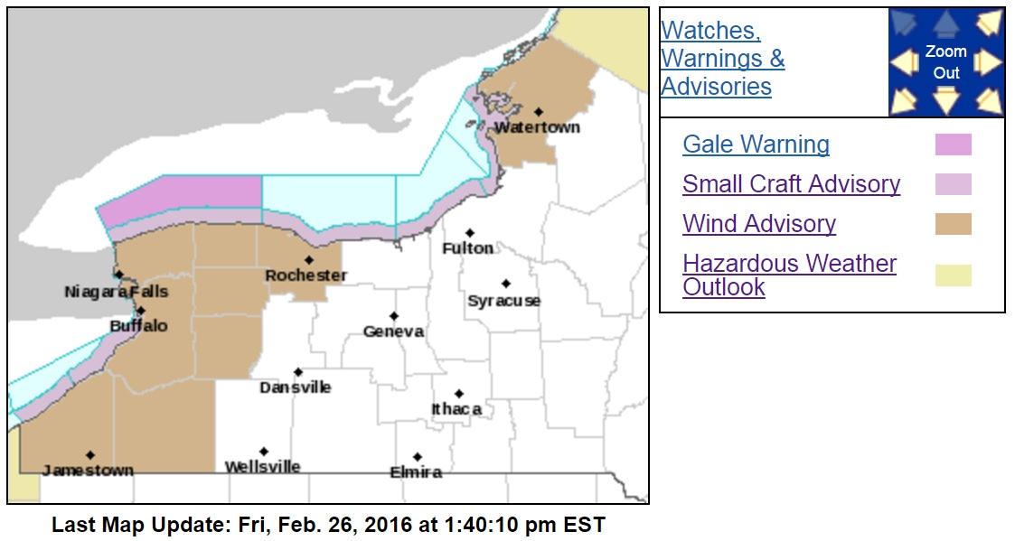 All of Western New York, save for Allegany County, are under a wind advisory from 11 a.m. Saturday until 1 a.m. Sunday. (NWS Buffalo)