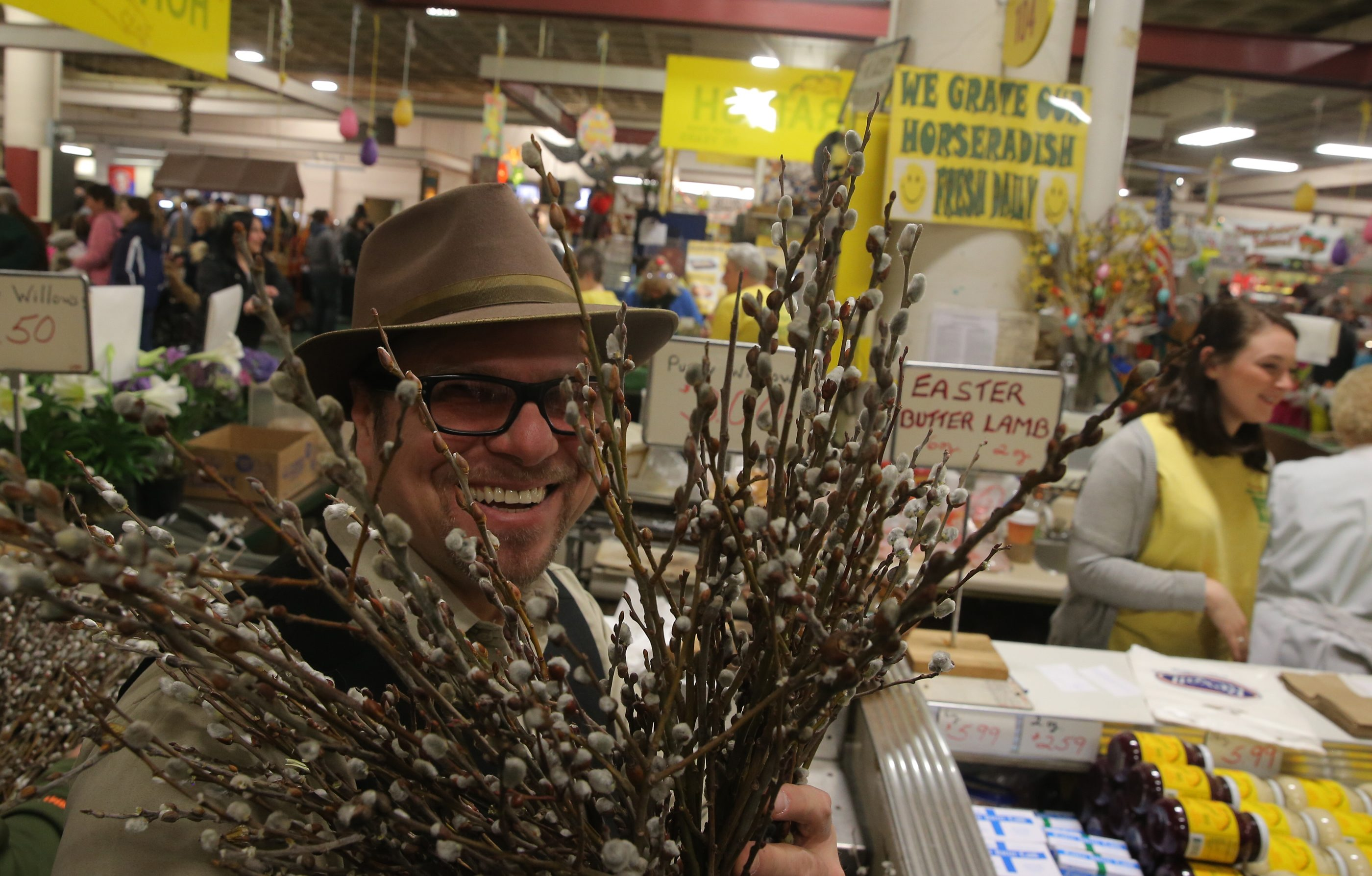 Airborne Eddy Dobosiewicz, photographed at the Broadway Market last week, will be part of a Ch. 7 Dyngus Day special as an independent  contributor, rather than an employee. (John Hickey/Buffalo News)