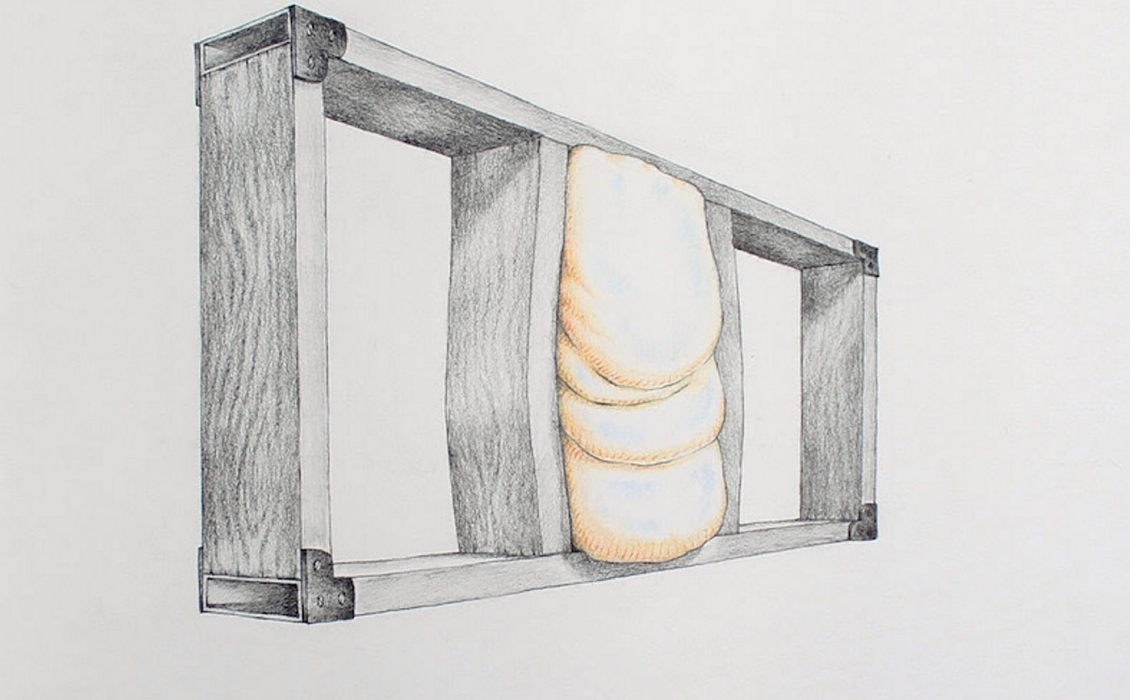 """Colleen Toledano's sculpture """"Wall Fat,"""" shown here in a drawing by Kyle Butler, is part of the final installment of Hallwalls Contemporary Arts Center's """"Amid/In Western New York."""""""