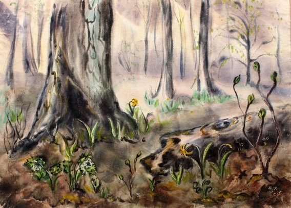 """Jeanette Blair's 1947 watercolor """"Fallen Tree"""" is on view in the Benjaman Gallery through May 14 as part of the exhibition """"Draw Near."""""""