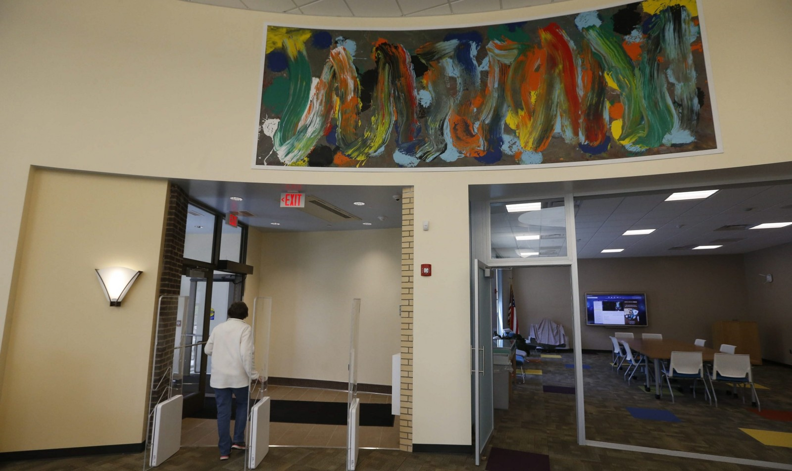 The recently remodeled and expanded Hamburg Public Library features abstract art from Charles Clough. (Robert Kirkham/Buffalo News file photo)