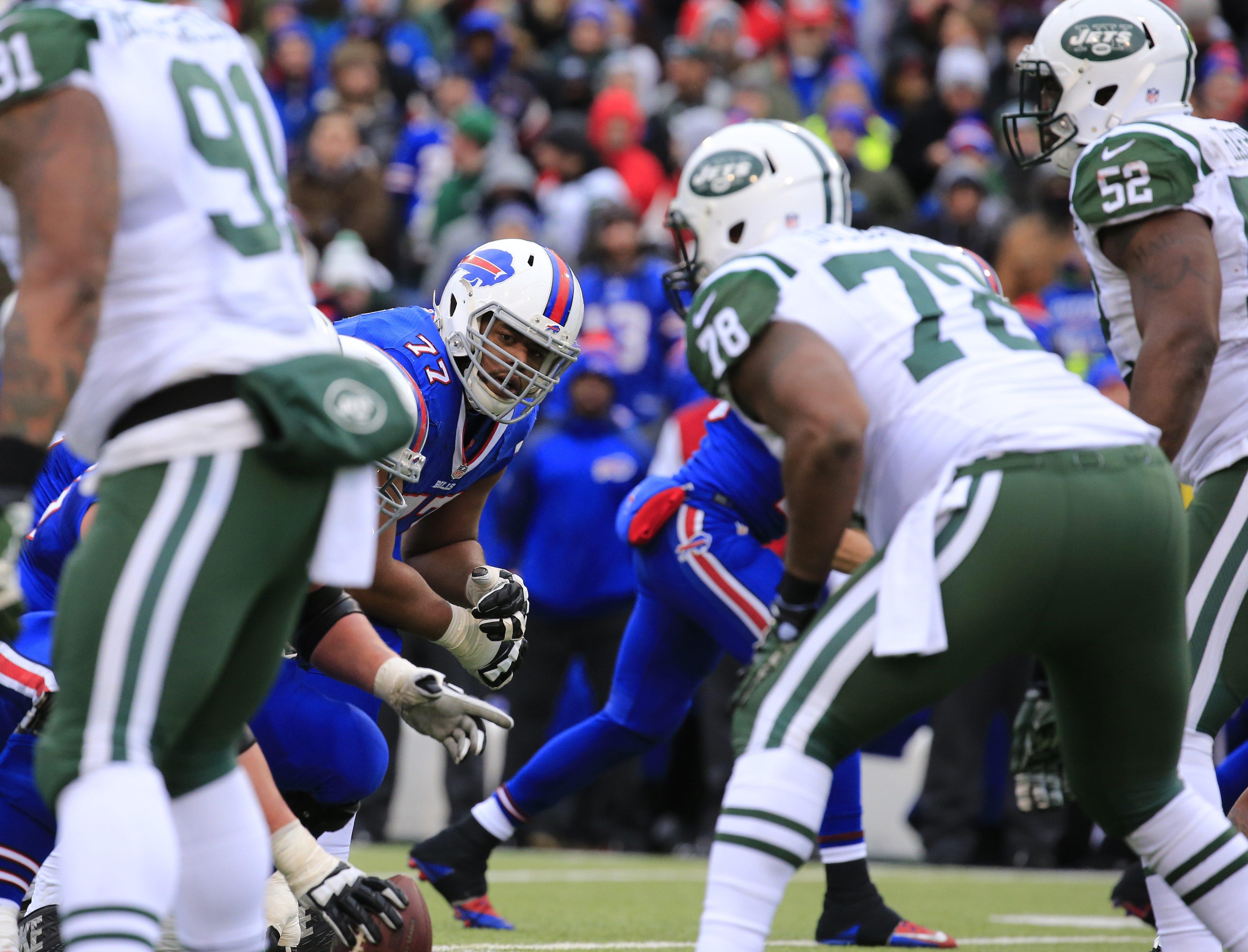 Buffalo Bills Cordy Glenn looks to  block against the New York Jets during third quarter action  at Ralph Wilson Stadium on Sunday, Jan. 3, 2016.  (Harry Scull Jr./Buffalo News)