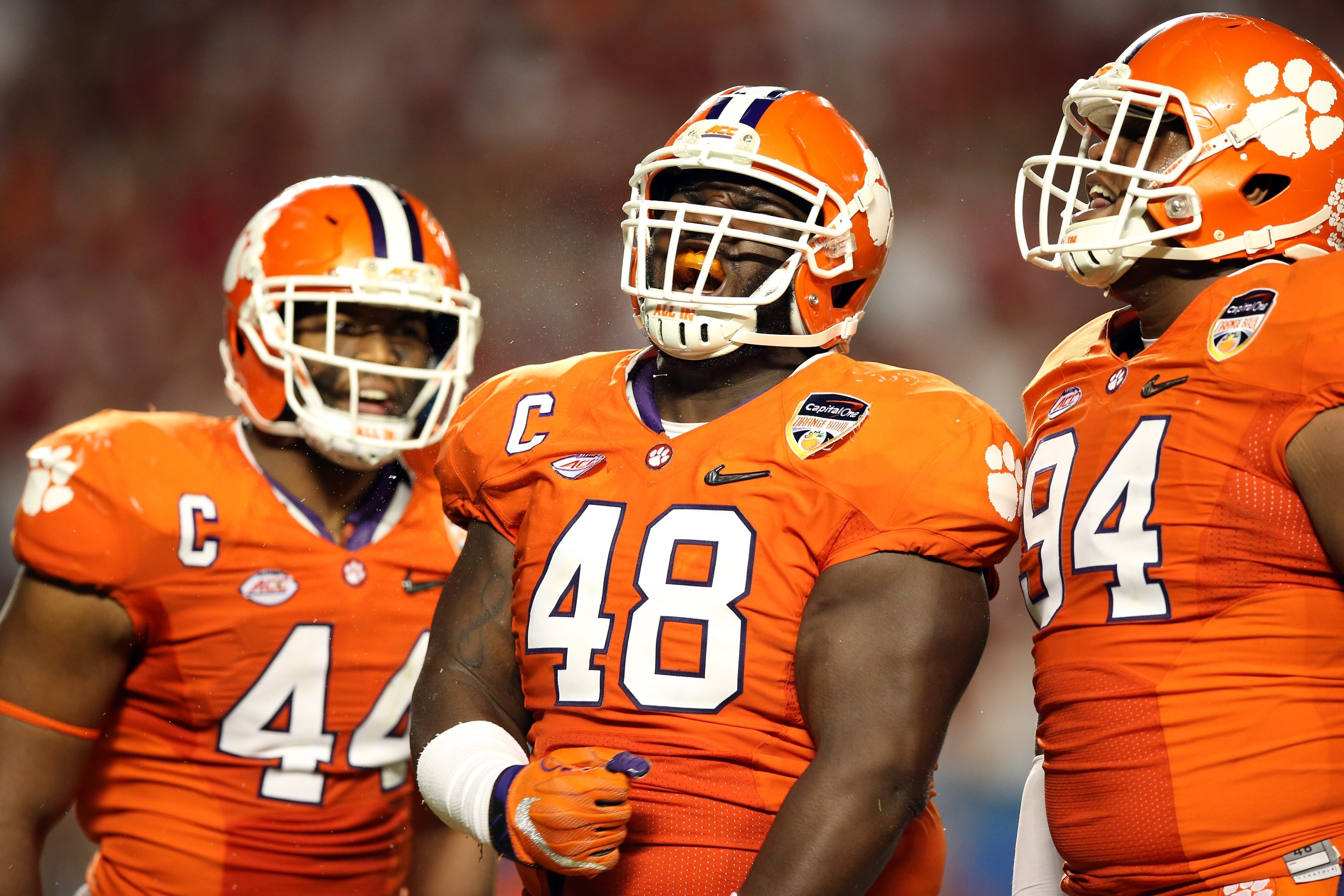 Nose tackle D.J. Reader (48) of the Clemson Tigers is a projected fifth-sixth round pick who had a good showing at the Senior Bowl week where he consistently won one-on-one battles with offensive linemen.