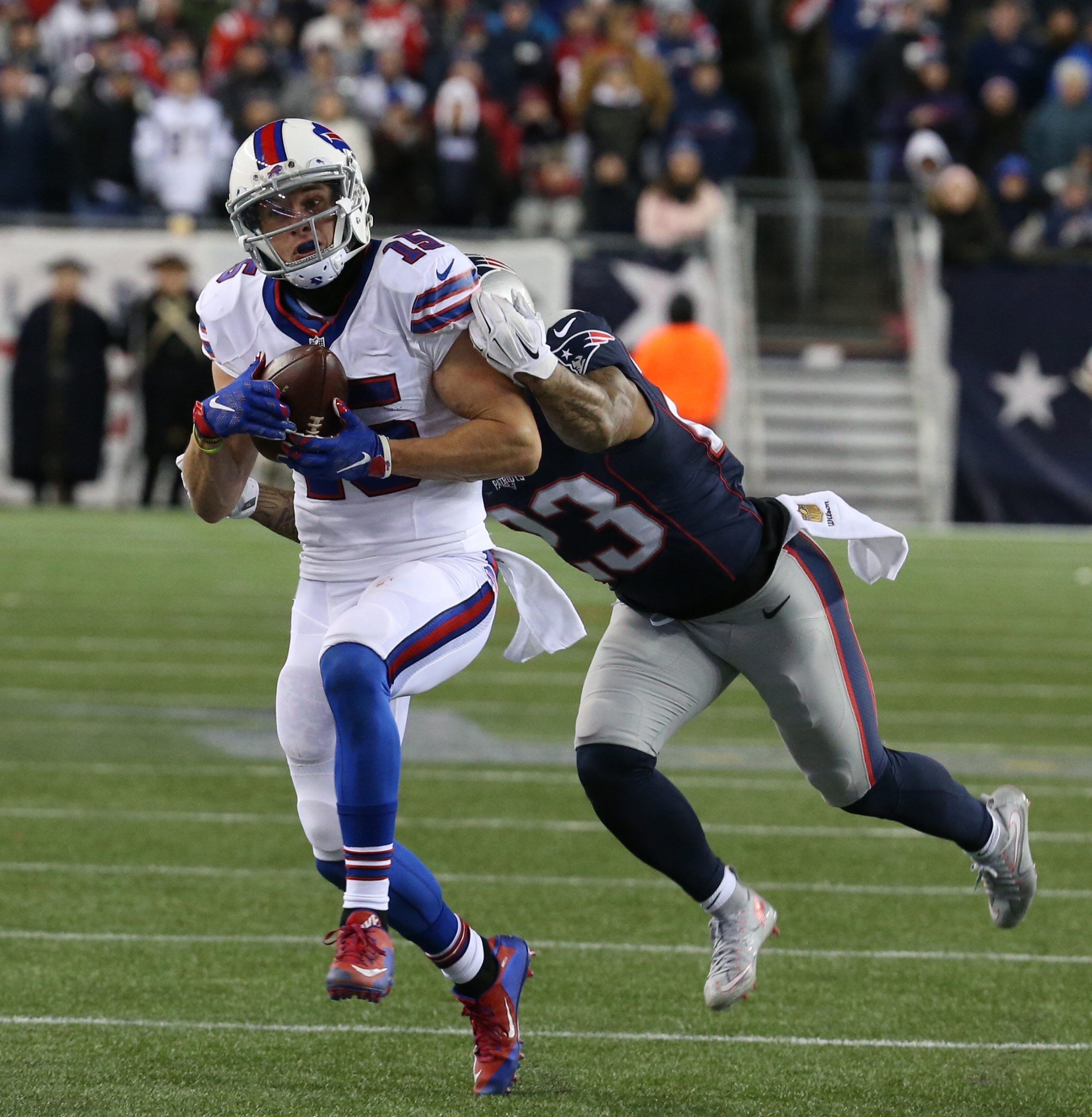 Buffalo Bills wide receiver Chris Hogan catches a pass in the fourth quarter at Gillette Stadium in Foxborough, Mass., on Nov. 23, 2015.
