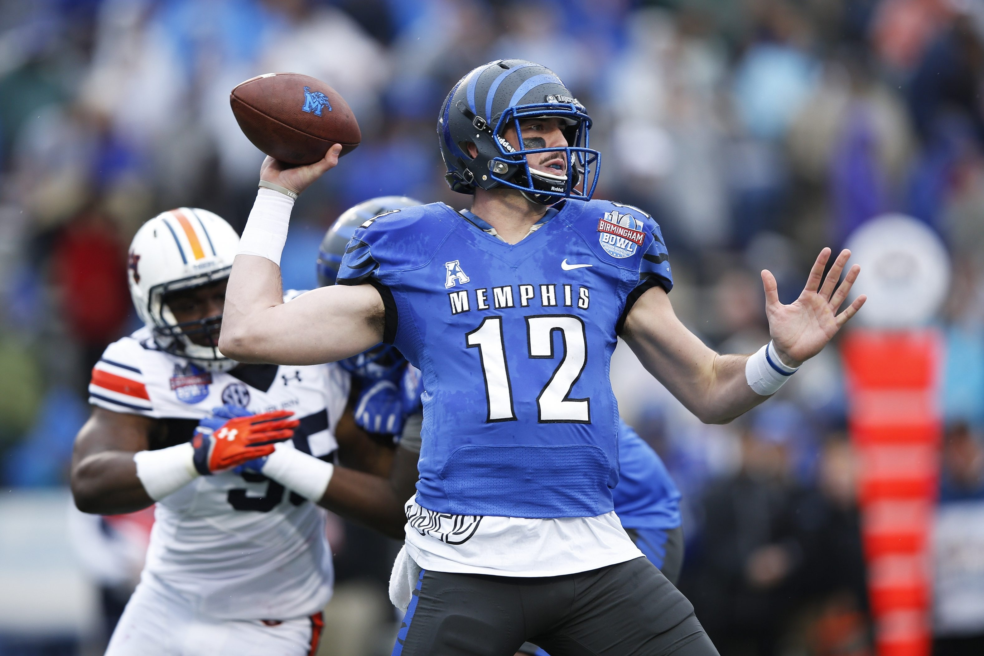 Memphis quarterback Paxton Lynch has impressed scouts with his accuracy. (Getty Images)