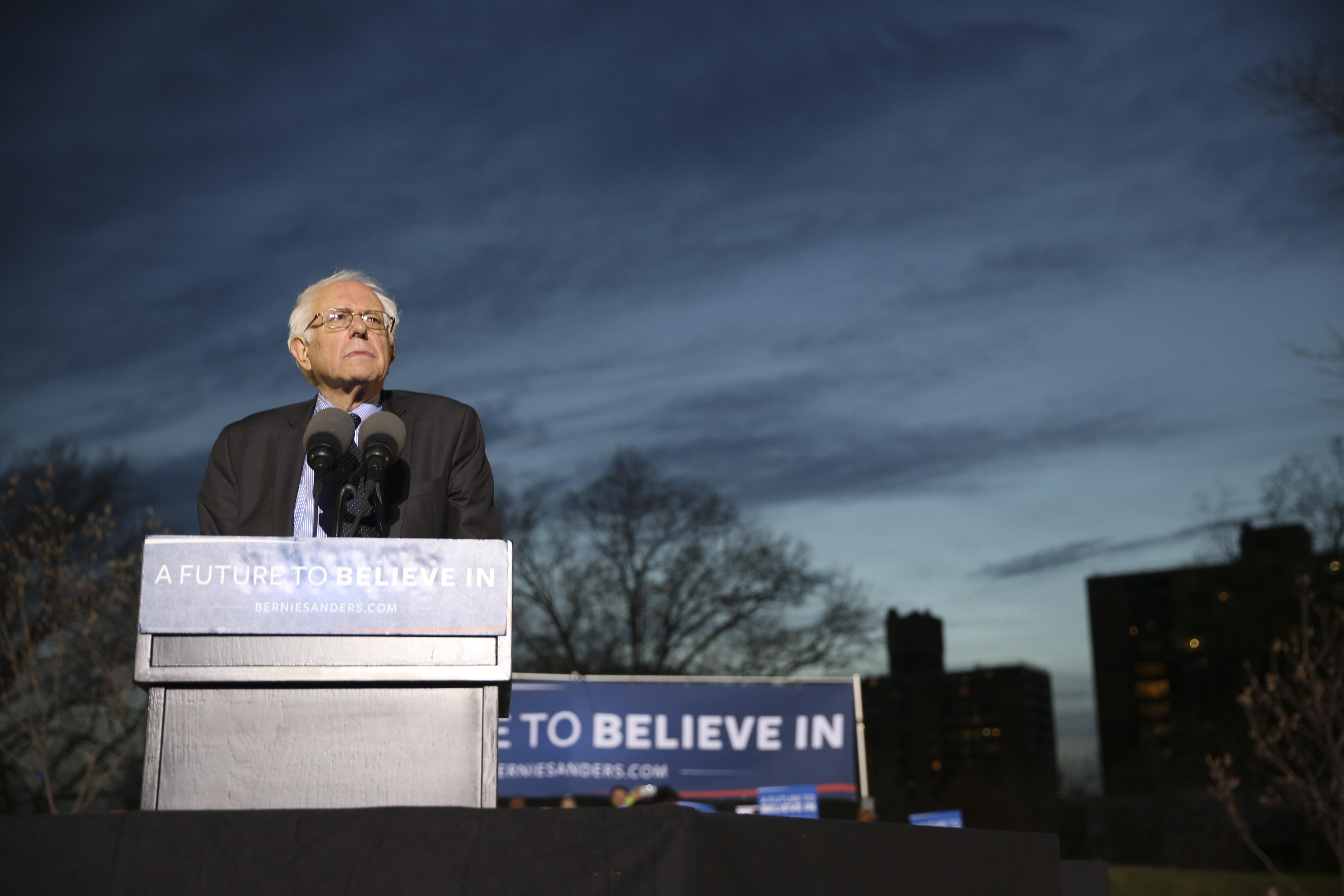 Vermont Sen. Bernie Sanders, a native of Brooklyn, brings his presidential campaign to rally at St. Mary's Park in South Bronx.