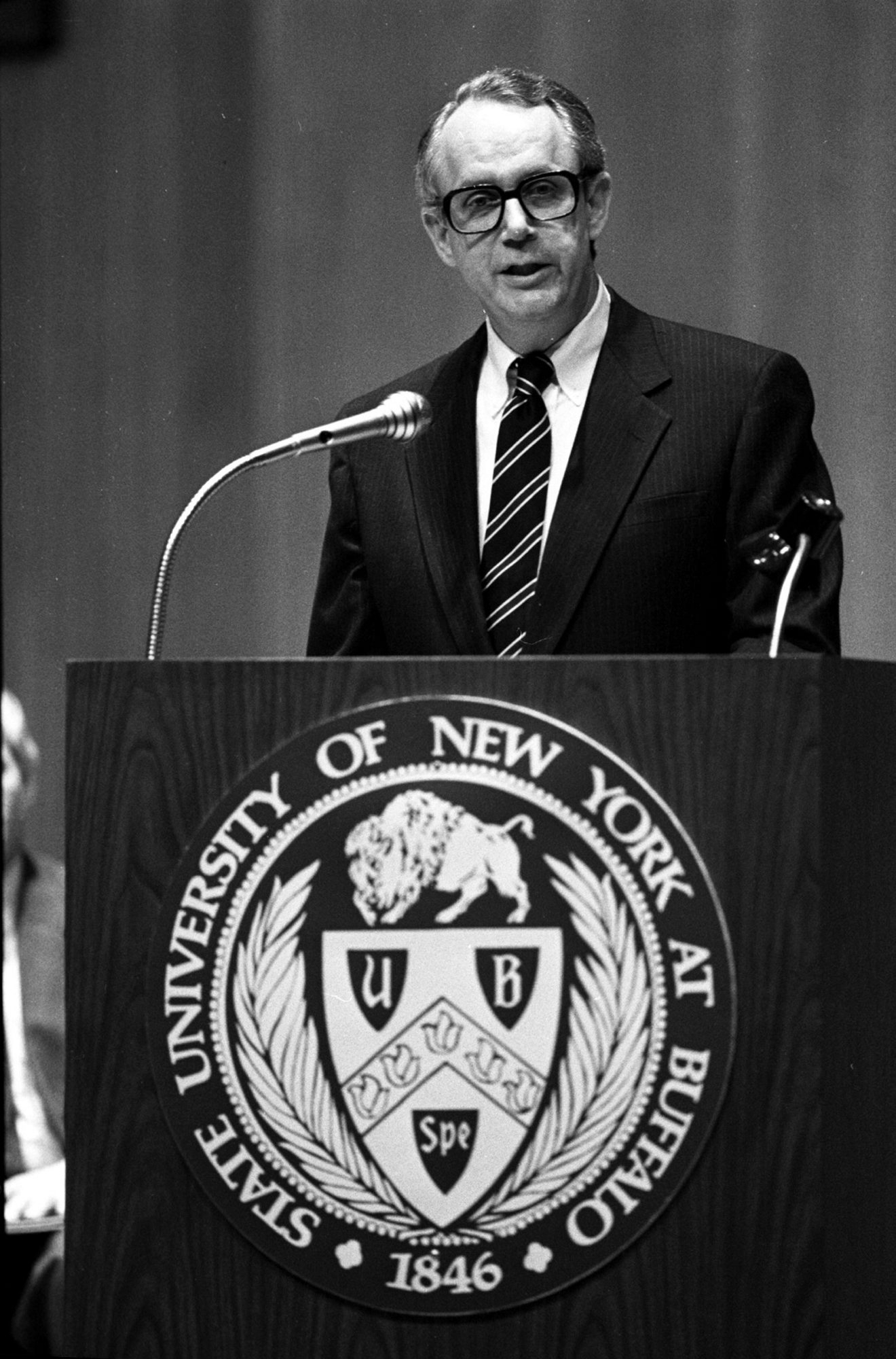 Dr. Steven B. Sample, at his farewell speech at UB, worked tirelessly to convince others of the strength of the institution.
