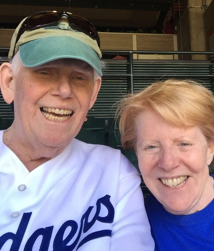 Former Erie County District Attorney Frank Clark with his wife of 42 years Kathy are shown at Chase Stadium in Phoenix taking in a Dodgers game.