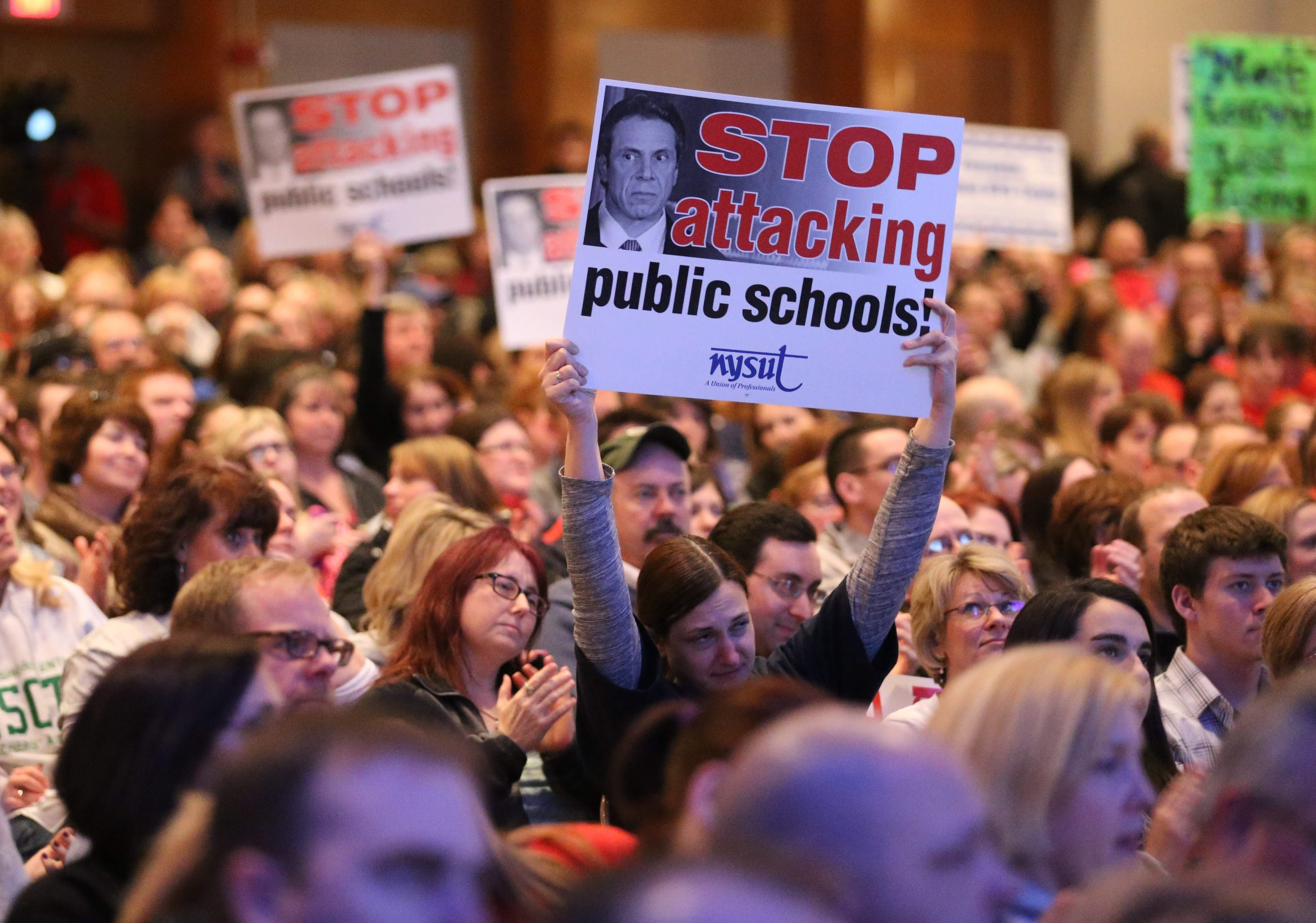 About 1,500 teachers and community members, some carrying NYSUT signs, gathered at West Seneca West on Feb. 26, 2015, to rally against proposals made by Gov. Andrew M. Cuomo. (Sharon Cantillon/Buffalo News)