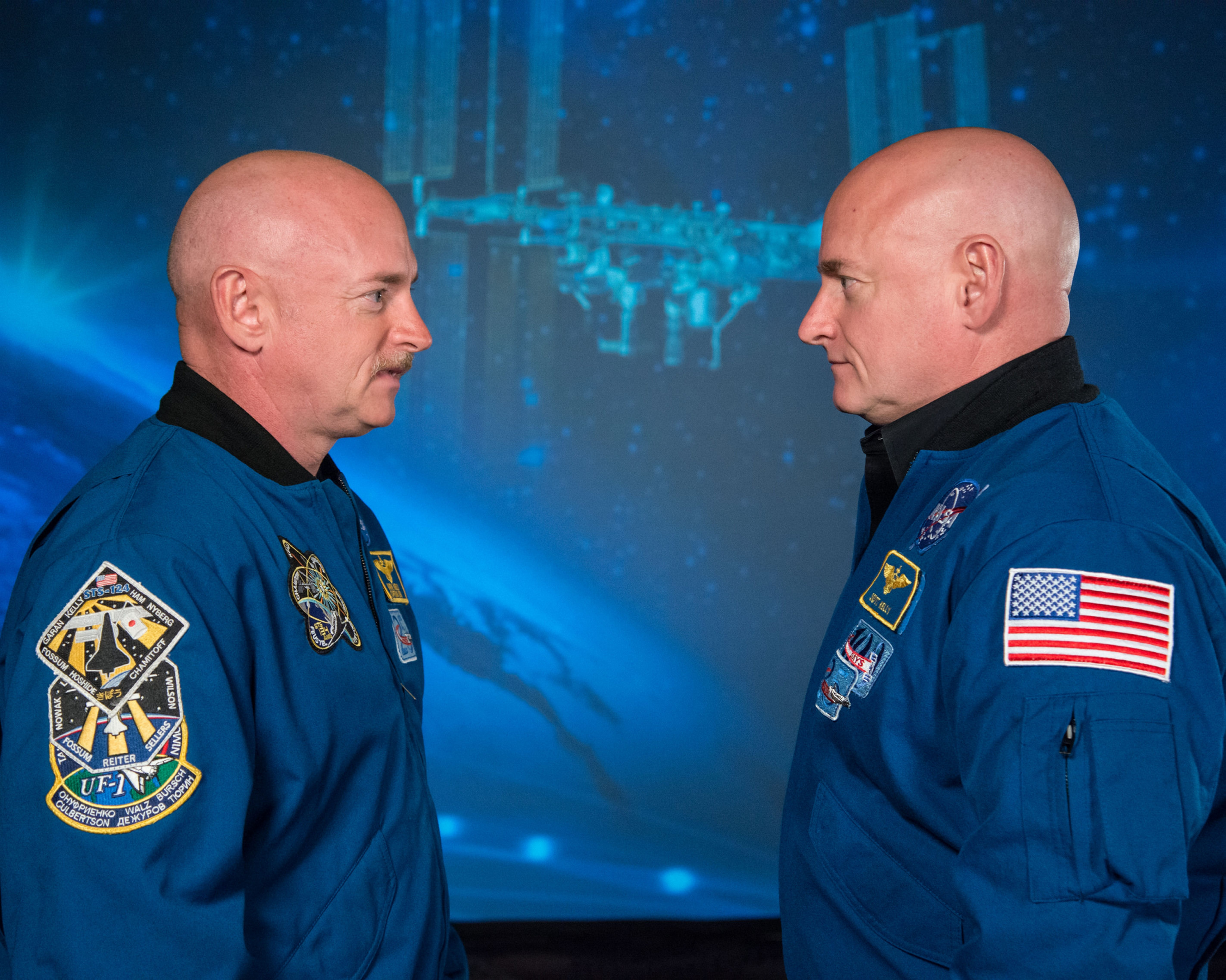 NASA is studying the effects of space on the human body through twin astronauts Mark Kelly, left, and Scott Kelly. (NASA)