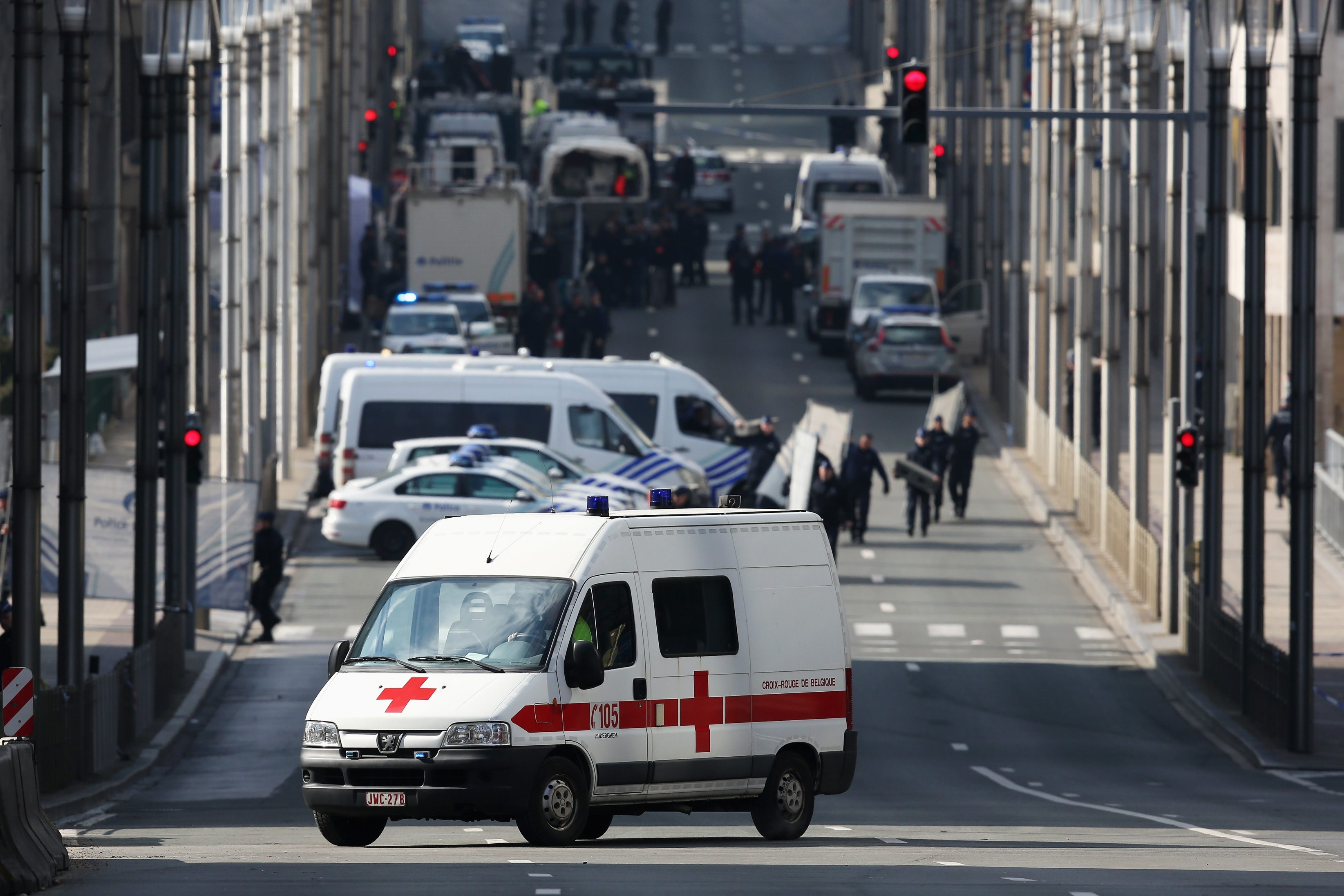 Soldiers, police officers and medical personnel at the Maelbeek metro station following Tuesday's attacks in Brussels, Belgium. (Getty Images)