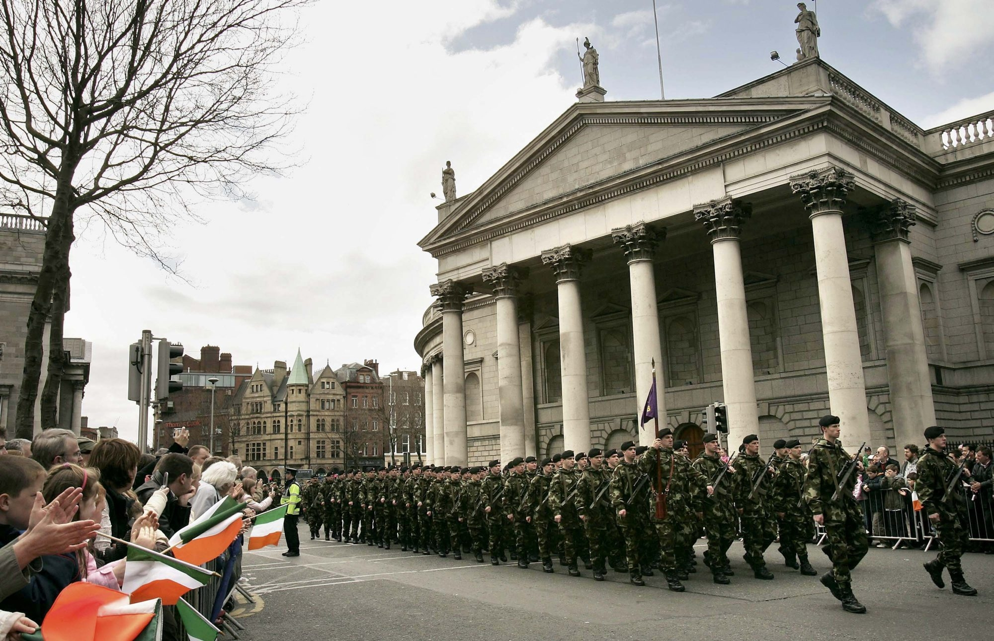 Irish Defence Force troops march in an Easter parade on April 16, 2006, in Dublin, Ireland, to commemmorate the 90th anniversary of the 1916 Easter Rising against British rule.