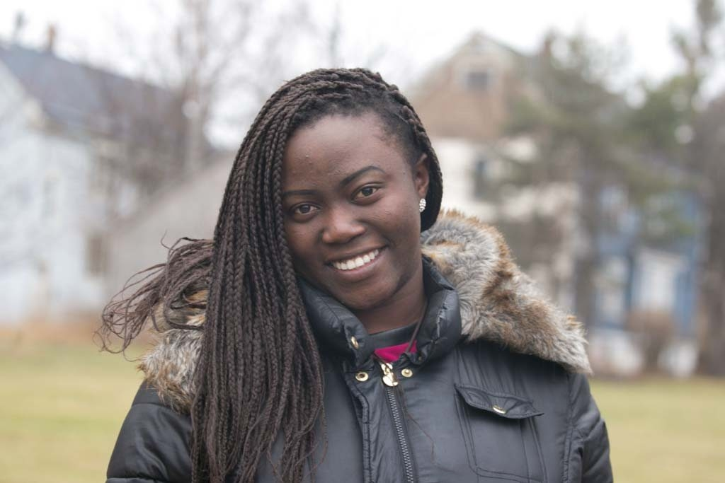 Ugandan refugee Anita Lakareber has a full-time job at BAK USA and is a recent ECC Student of the Year. A nursing career is her goal.