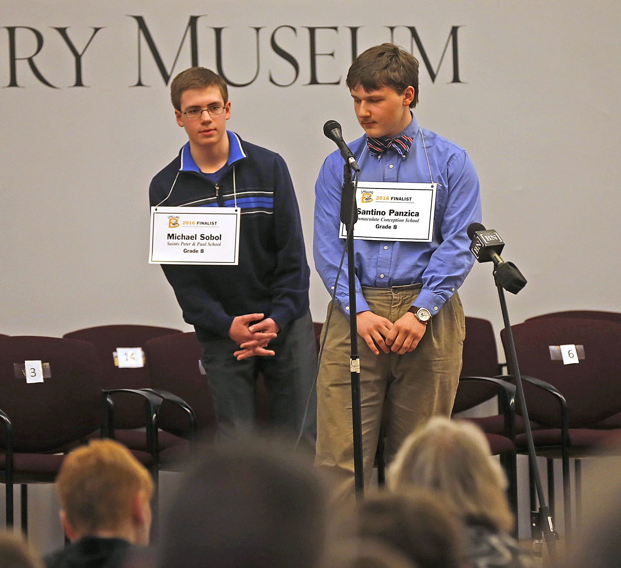 Spelling Bee winner Santino Panzica, right, defeated last year's champ, Michael Sobol, at the Buffalo History Museum on Sunday.