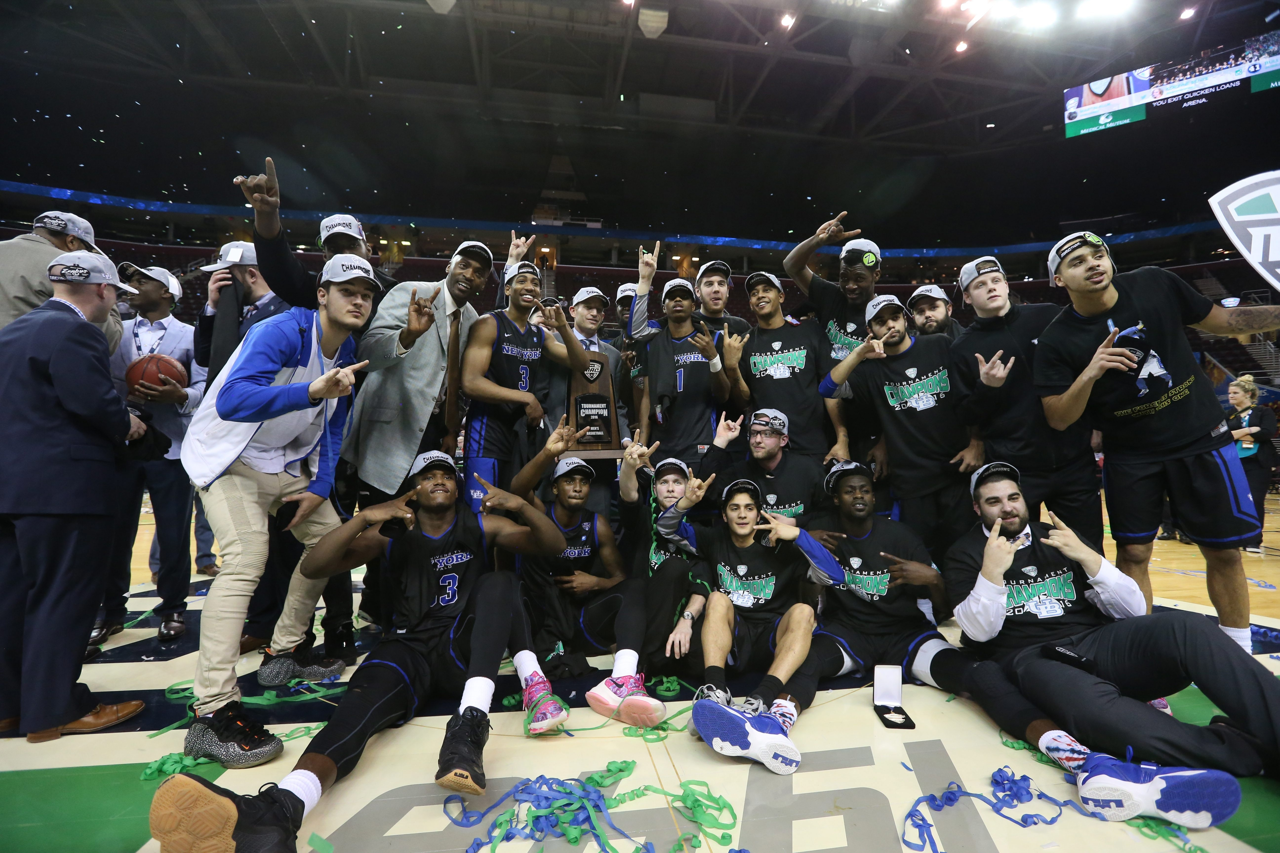 The Buffalo Bulls celebrate their MAC championship after a thrilling win over Akron on Saturday.