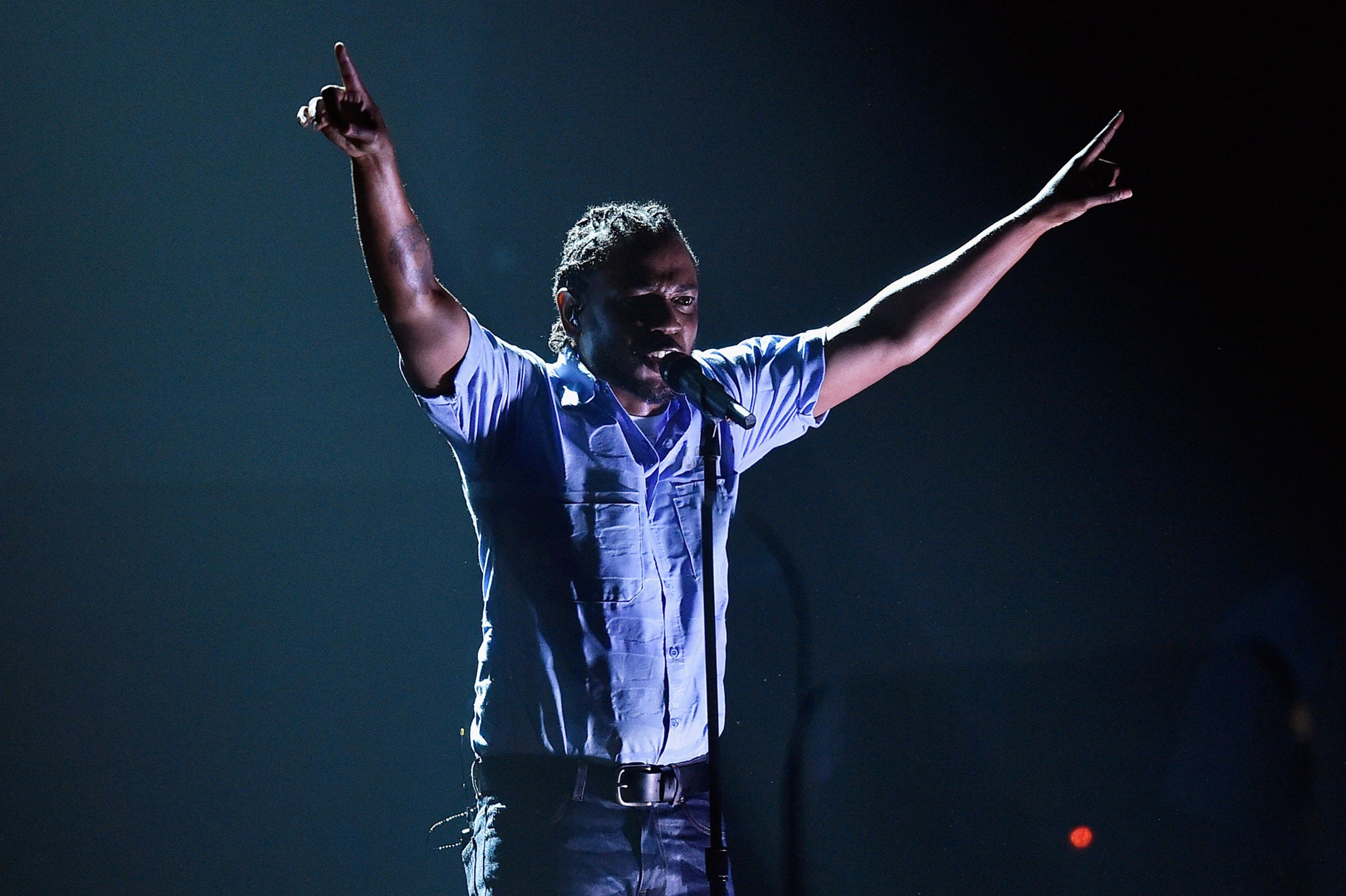 "Rapper Kendrick Lamar, shown performing during the 58th Grammy Awards show in February, delivers his most experimental effort yet with ""untitled unmastered."""