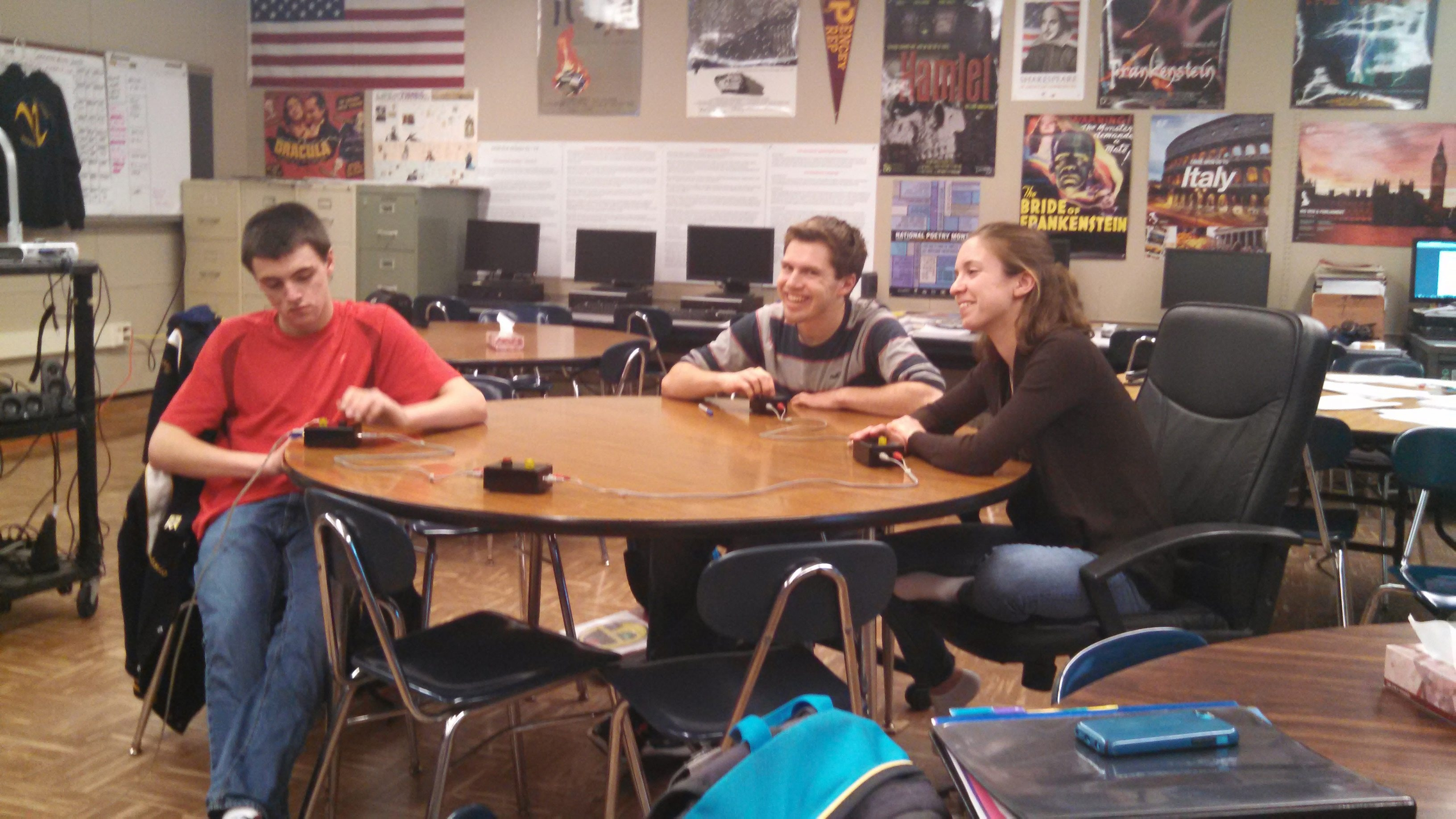 Lockport High School seniors Scott Anderson and Sage Donovan keep their hands on the buzzers during a recent practice for Scholastic Bowl, which requires quick reflexes and good memories for facts.
