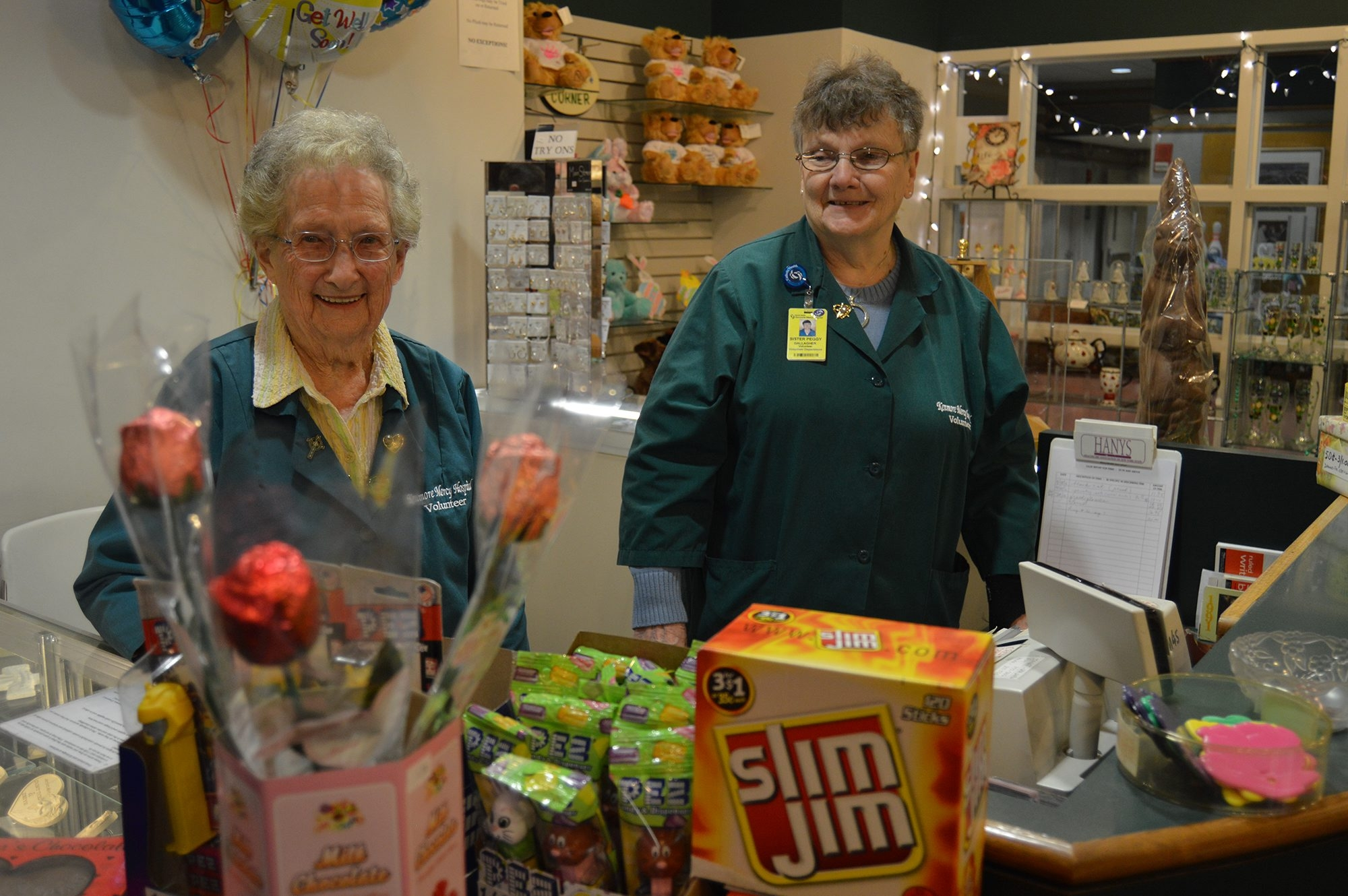 Margaret Brown, left, and Sister Peggy Gallagher are both volunteers at the Kenmore Mercy Hospital gift shop. (Sharon Cantillon/Buffalo News)