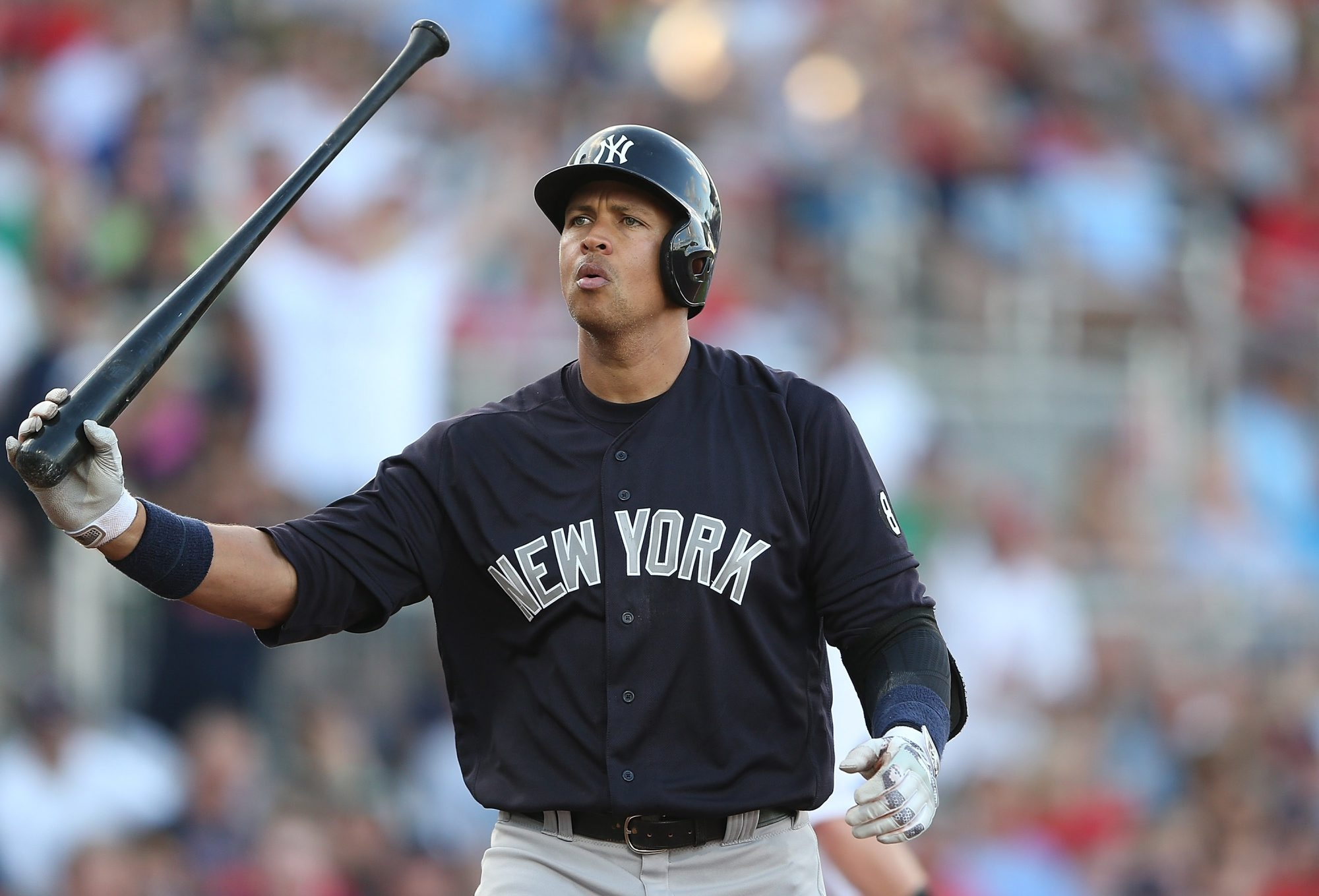 Alex Rodriguez reacts after striking out in the first inning of a spring training game against the Boston Red Sox on March 15. (Getty Images)
