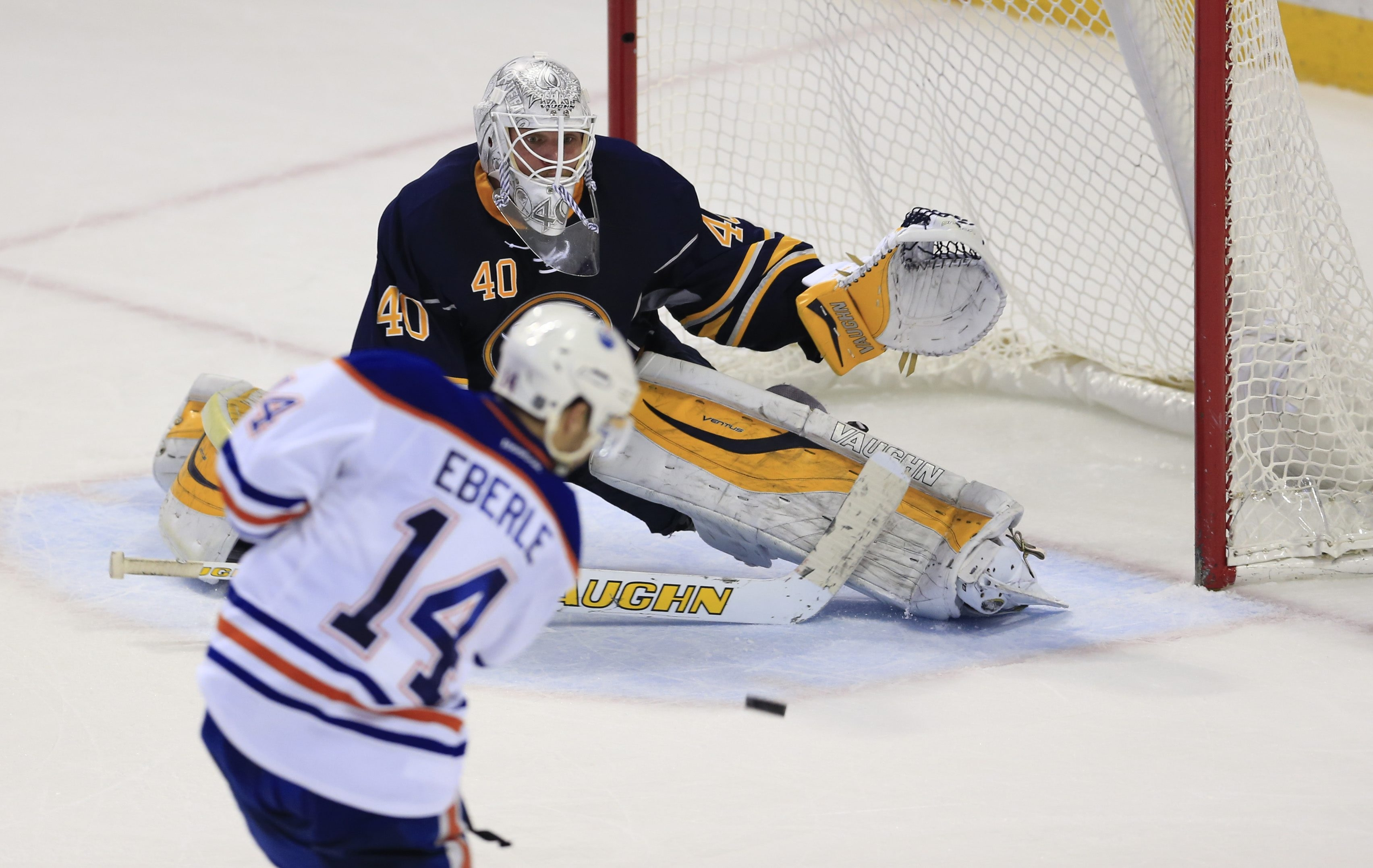Sabres' goaltender Robin Lehner stops the Oiler's Jordan Eberle's shot during overtime on Tuesday.