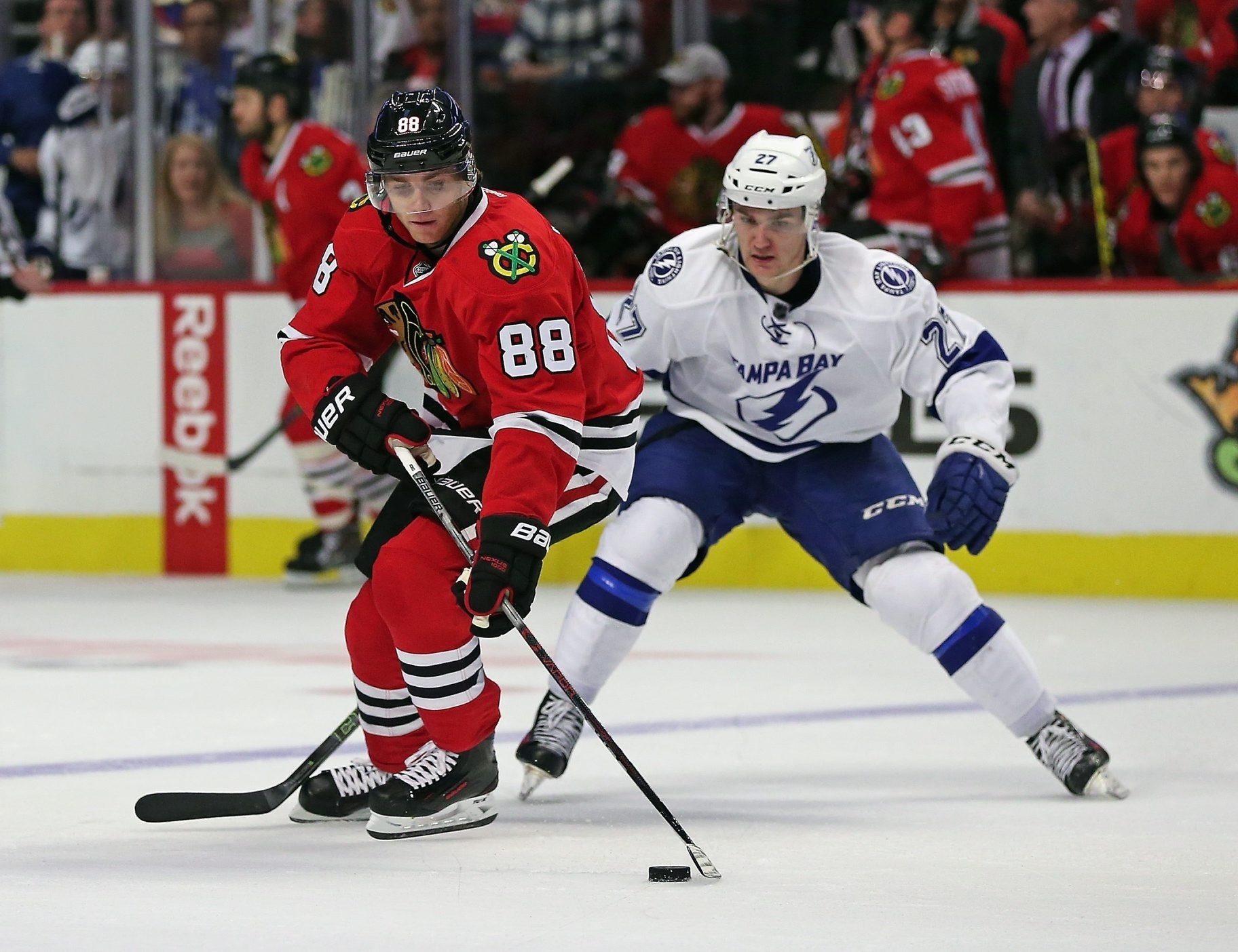 Patrick Kane of the Blackhawks (88) has some new linemates as Chicago tries to find a combination among its forwards that will help get the team going again.