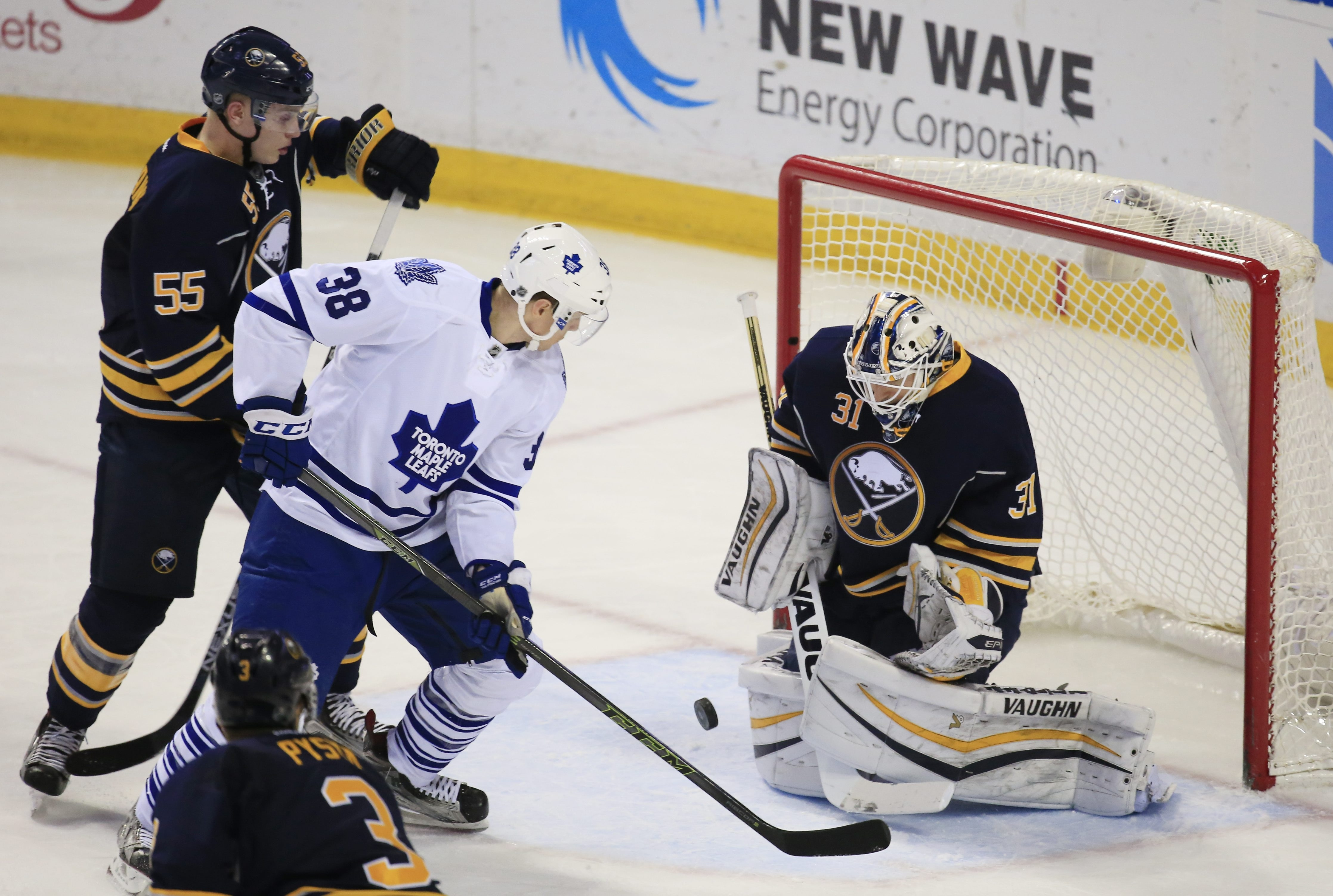 Sabres goaltender Chad Johnson stops Toronto's Colin Greening in the second period. Johnson made 25 saves on 26 shots.