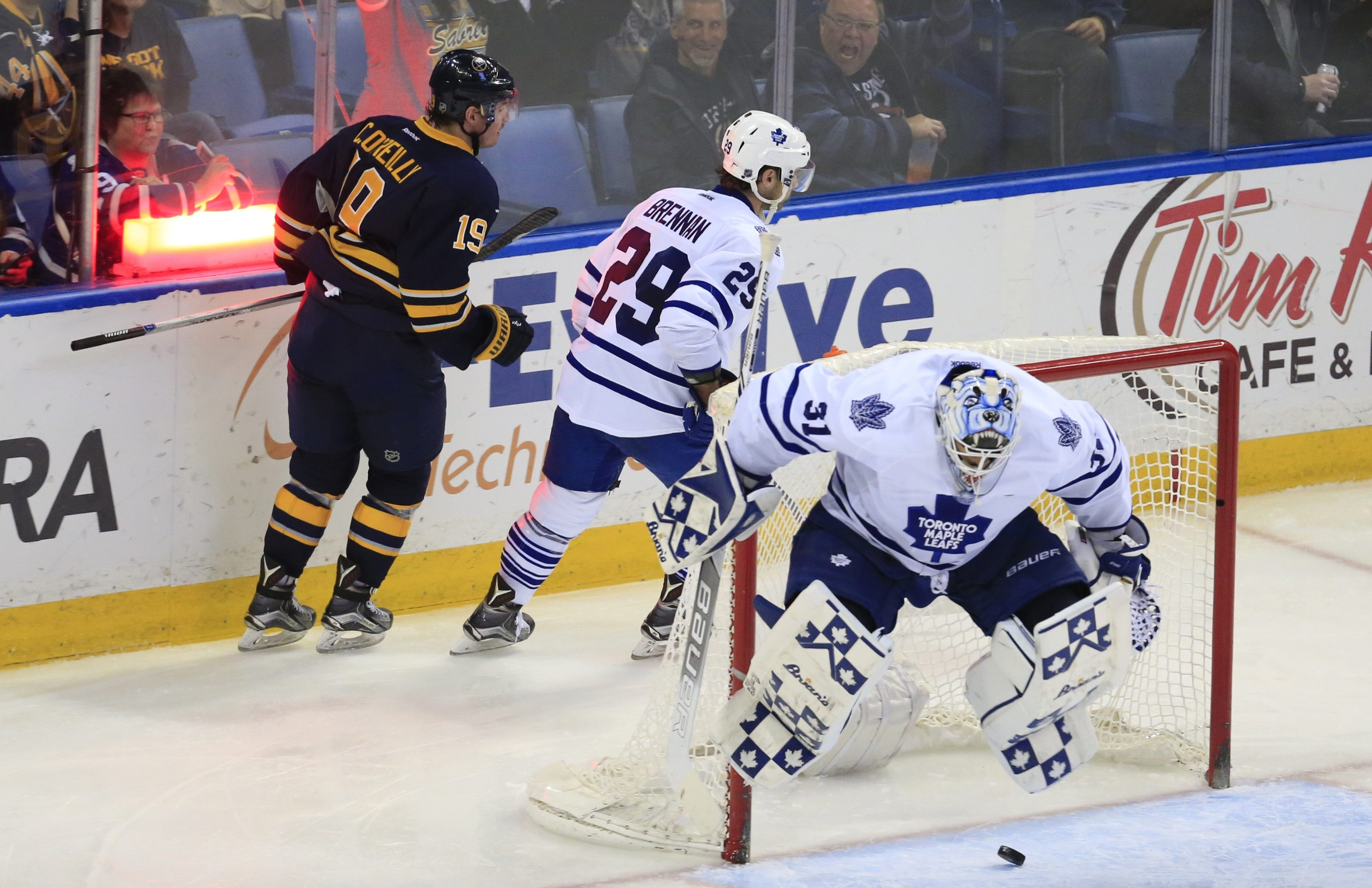 Buffalo's Cal O'Reilly scores his second goal of the game on Toronto Maple Leafs goaltender Garret Sparks in the second period.
