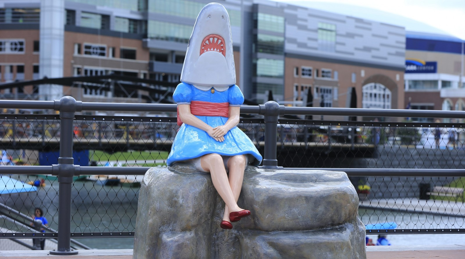 'Shark Girl,' a sculpture by Casey Riordan Millard, is the subject of a debate between the Albright-Knox Art Gallery and the authorities who oversee Canalside. (Harry Scull Jr./News file photo)