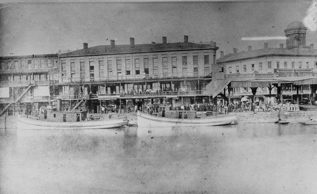 Today's Central Wharf at Canalside is in the same location as the Central Wharf of the mid- to late 1800s. (Buffalo News archives)