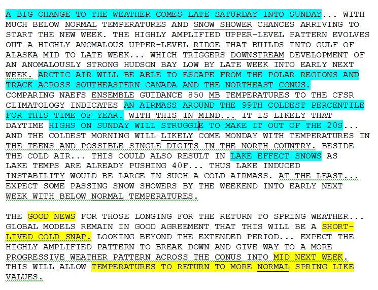 Excerpt from the National Weather Service forecaster's discussion