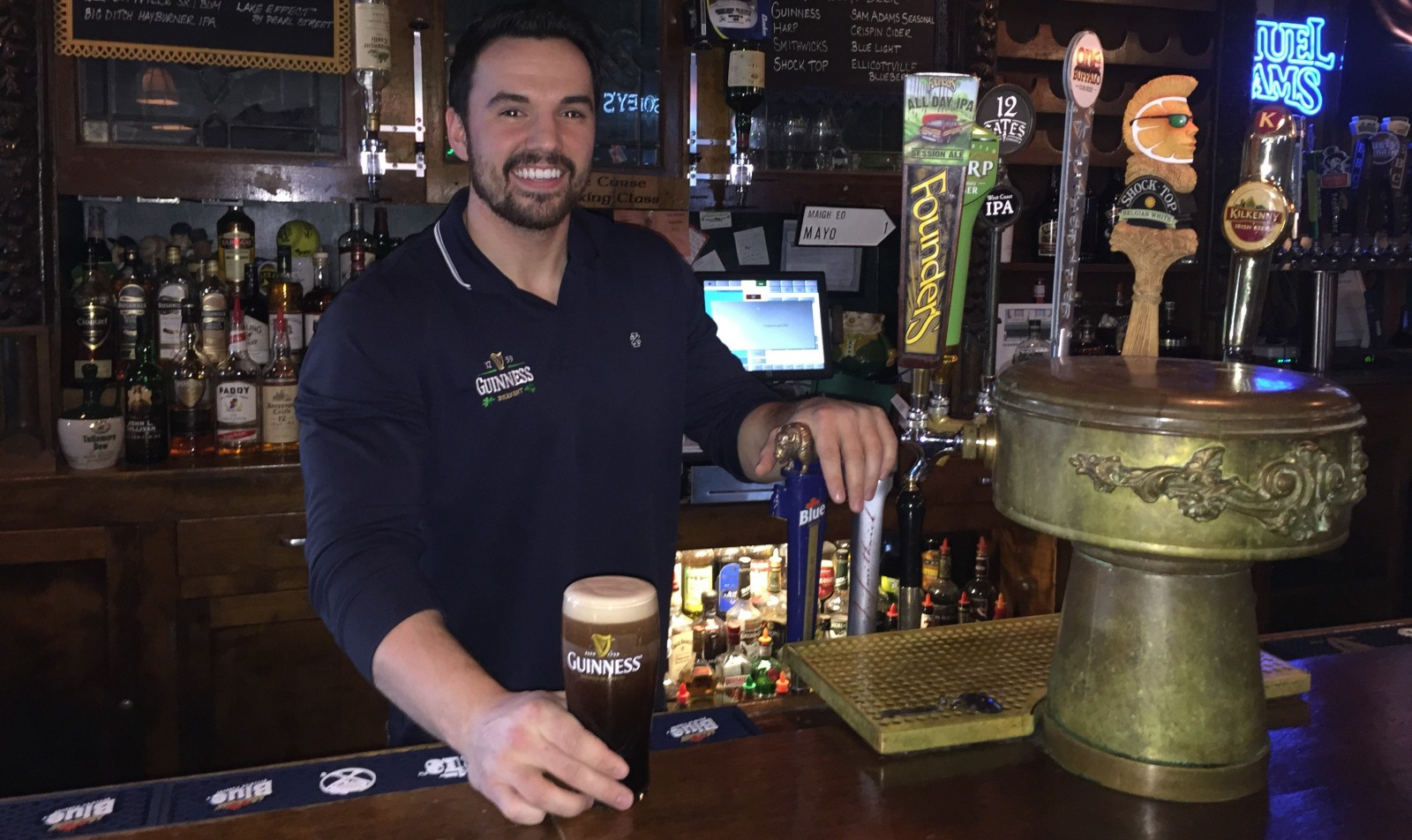 The Blackthorn's Pat Hayes has perfected the shamrock on every Guinness he pours. (Elizabeth Carey/Special to The News)