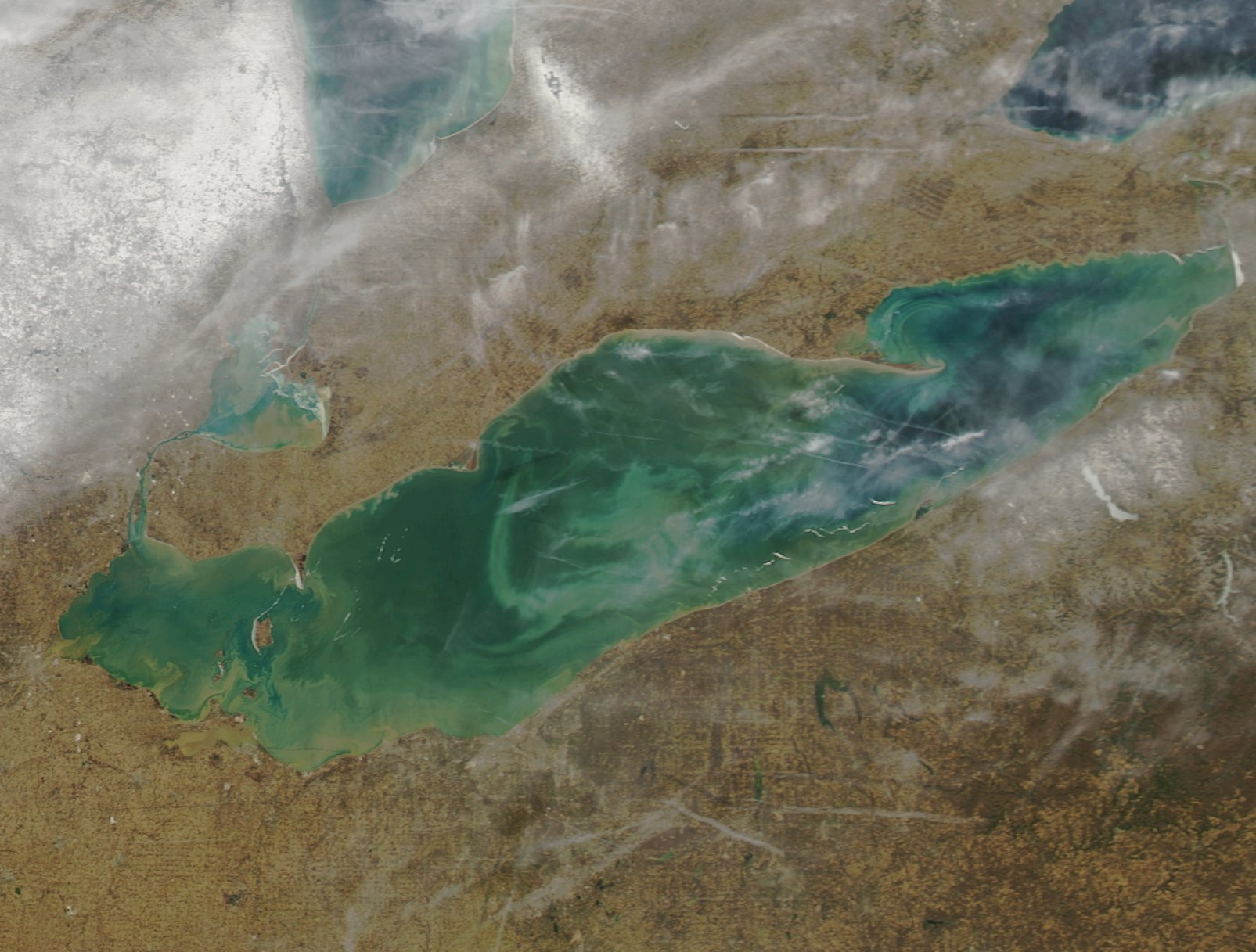 This image taken from space on a 62° Sunday afternoon shows the wide-open expanse of Lake Erie's waters. (NASA)