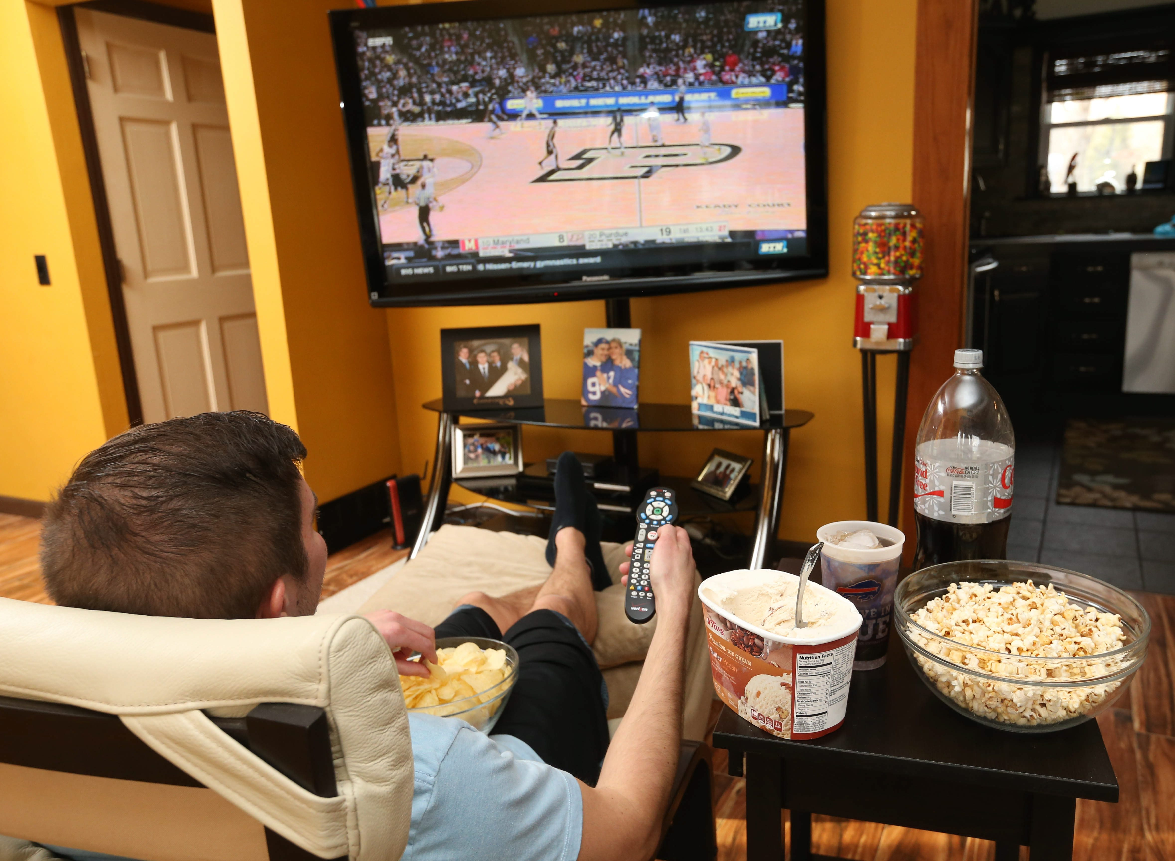 You don't have to be a couch potato while watching television. TV time can be workout time, too.  (Sharon Cantillon/Buffalo News)