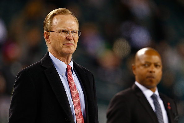 New York Giants owner John K. Mara, left, says the Bills are 'going to be at a disadvantage, I think, somewhat competitively' unless they get a new stadium.  (Getty Images)