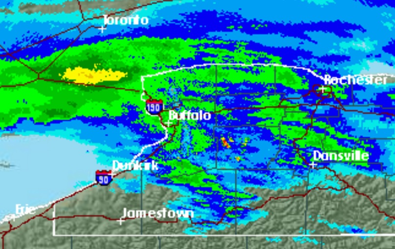Just after 7 p.m. Wednesday, rain was falling over much of northern Western New York. (NWS radar)