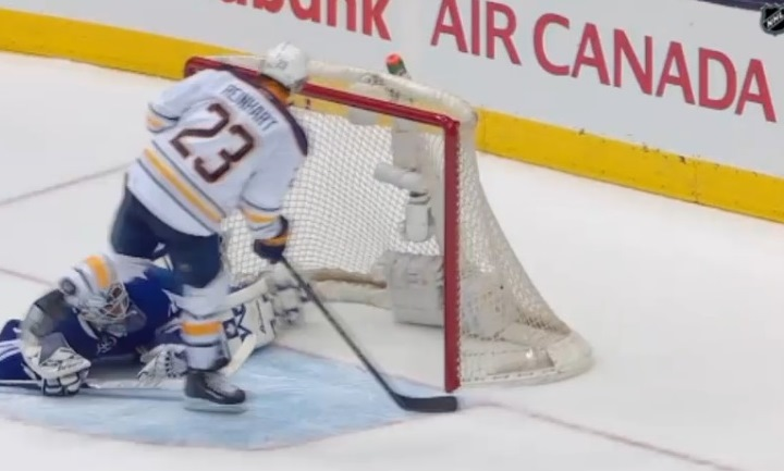 Sam Reinhart scores in a shootout in Sabres 4-3 victory over Maple Leafs Monday night. (Screenshot from MSG video)