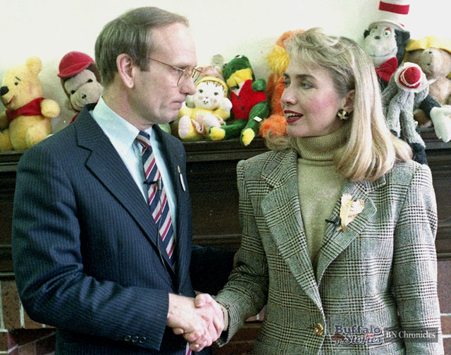Erie County Executive Dennis Gorski welcomes Arkansas First Lady Hillary Clinton to Buffalo in 1992. (Buffalo News archives.)