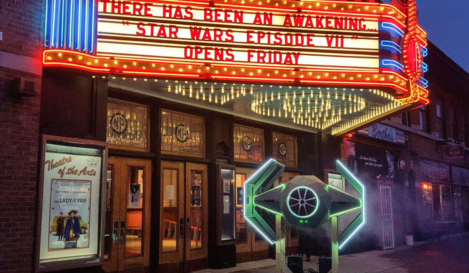 A replica TIE-fighter will be in the lobby of the North Park Theatre for showings of 'Star Wars Episode VII: The Force Awakens.' (North Park Theatre)