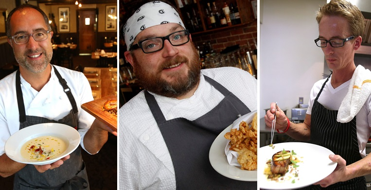 (Left to right) Chefs Carmelo Raimondi, Steven Gedra and Bruce Wieszala are offering a snout-to-tail dinner Monday. (Buffalo News file photos)