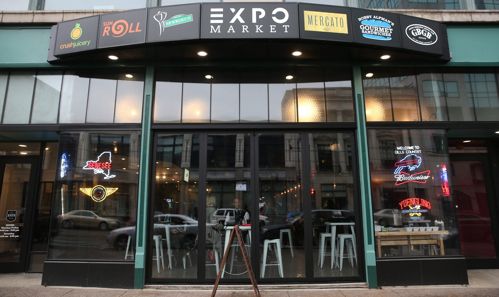 The exterior of EXPO Market, a collection of food and drink vendors inside the old Market Arcade. (Sharon Cantillon/Buffalo News)