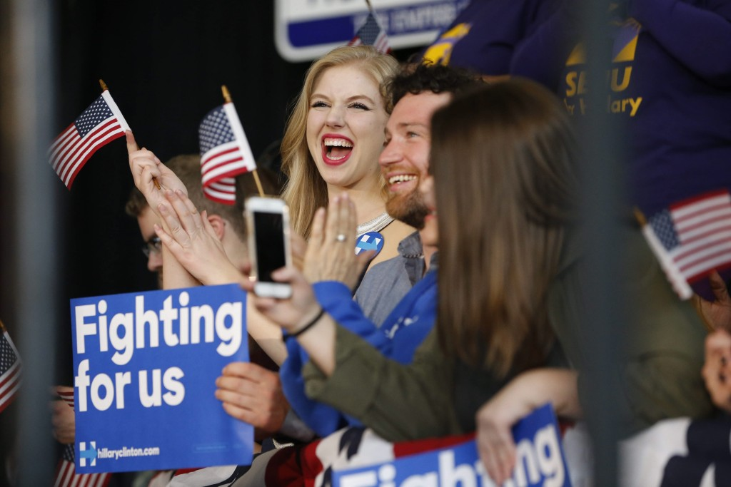 Supporters cheer for presidential candidate Hillary Clinton during a rally at the Buffalo Transportation Pierce Arrow Museum in Buffalo, N.Y. on Friday, April 8, 2016. (Derek Gee/Buffalo News)