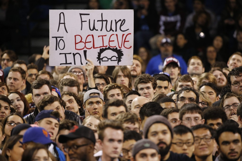 Bernie Sanders supporters cheer during a rally at University at Buffalo, Monday, April 11, 2016. (Derek Gee/Buffalo News)