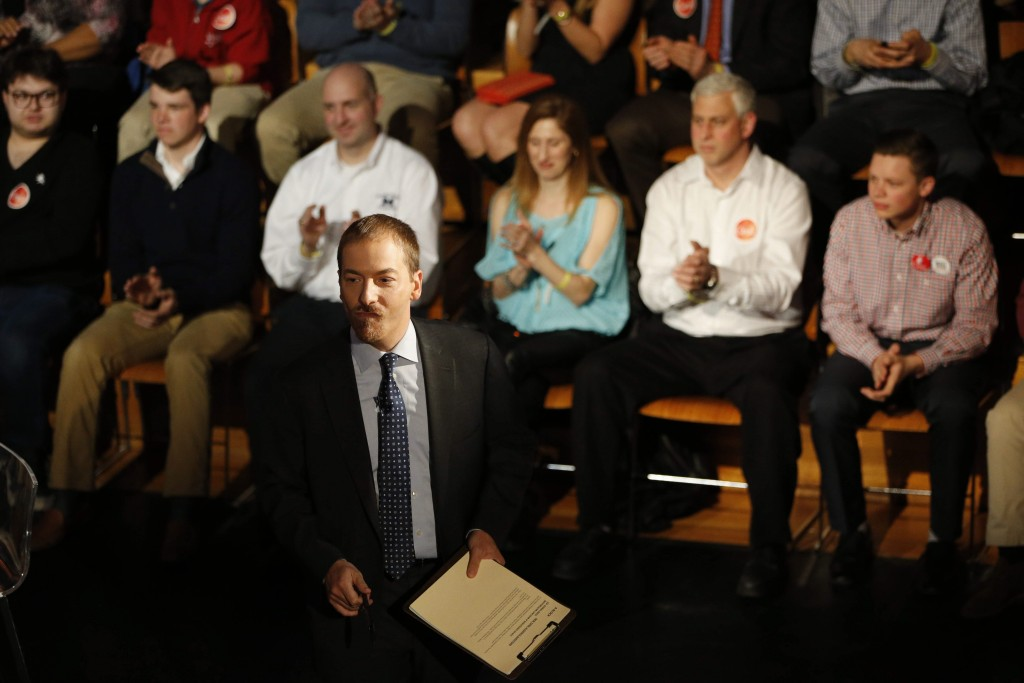 Host Chuck Todd talks to the audience before a town hall meeting with presidential candidate Sen. Ted Cruz sponsored by MSNBC in the Katharine Cornell Theater at UB, Thursday, April 14, 2016. (Derek Gee/Buffalo News)